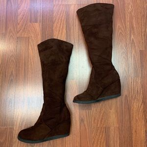 Qupid Brown Wedge Knee High Boots